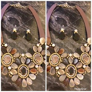 Chocolate multicolored necklace with earrings set